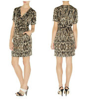 Size 8 Karen Millen Wrap Dress Brown Beige Multi Colour DN018 SALE