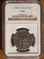 1766 P V Y Bolivia 8 Reales NGC VF 35