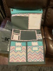 Thirty One 31 Wall Organizer Party Punch And Turqouise Cross Hatch - 3 Piece Set