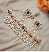Ethnic Bollywood Red & Green Indian Kundan Choker Necklace Jewelry Earring Set