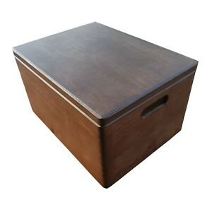 LARGE WOODEN BOX 40X30X23cm WHIT HANDLE IN BROWN COLOR