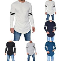 Men's Muscle Slim Plain Basic Tee Tops Blouse Pullover Long Sleeve T Shirts HL