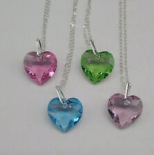 Sterling Silver Swarovski Crystal Faceted Heart Cut Pendant Necklace; 10 Colors