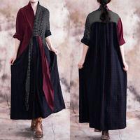 UK Women Check Plaid Patchwork V-Neck Long Shirt Dresses Vintage Tunic Kaftan