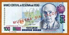 SPECIMEN Peru, 100 Nuevo Soles, 1992, P-155bS, UNC > Rare