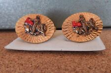 Vintage Mens Matador Bull fighter Cufflinks Bright Cut Gold Tone 1960's-70's
