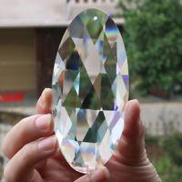 120mm Large Oval Cut Glass Crystal Prism Suncatcher Hanging FengShui Chandelier