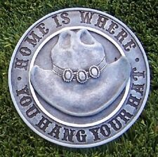 """Garden Path Stepping Stone Wall Plaque Home is Where you Hang Your Hat New 6"""""""