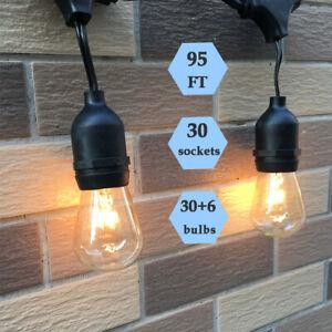 95FT with Warm Glow S14 Glass Bulb Garden String Lights Waterproof Festoon Light