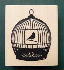 "P24 Bird cage rubber stamp WM 1.7x2"" Wood Mounted-silhouett"