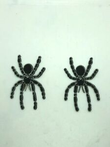 2 Black Widow Spider embroidered iron on patch Creepy Scary Bug Insects