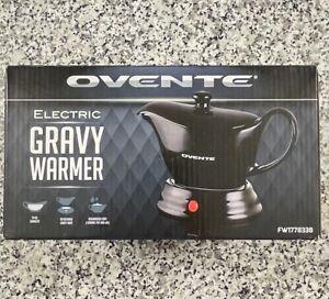 Ovente Electric Gravy Warmer with 33oz Serving Ceramic Pot, FW177833B