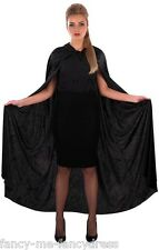 Ladies Long Black Hooded Velour Vampire Halloween Cape Cloak Fancy Dress Costume