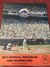 1971 New York Mets Program Two Autographs Shea Stadium Chicago Cubs Nolan Ryan