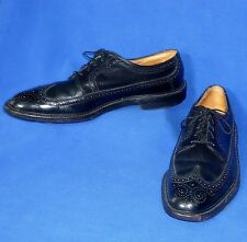 9.5 C VTG FLORSHEIM NAILED LEATHER HEELS BLACK KENMOOR WINGTIP OXFORD MENS SHOE