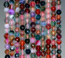 """6MM CRACKLE AGATE GEMSTONE PARTY MULTICOLOR FACETED ROUND LOOSE BEADS 14.5"""""""