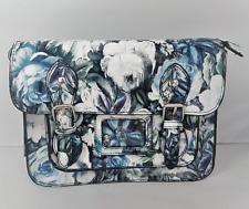 Ladies Ella Blue Floral Rose Flower Print Satchel Womens Shoulder Strap Handbag
