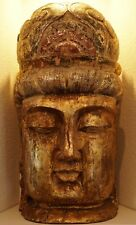 QING DYNASTY CHINESE WOOD CARVED GUILT FIGURE OF A BUDDHA HEAD