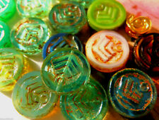 Schöner Mix aus grossen Antik Wheel-Perlen m.Picasso -Aqua/Blue/Rose- 14mm-10Stk