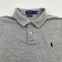 Polo Ralph Lauren Polo Shirt Mens Large Gray Short Sleeve Custom Fit Hi Low Hem