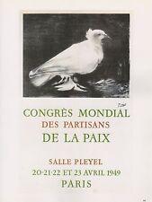 """1989 VINTAGE """"CONGRES DE LA PAIX 1"""" PICASSO MOURLOT Color offset Lithograph"""
