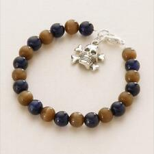 Boys Pirate Bracelet,  Skull Charm, Black, Brown, Navy Etc