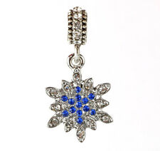 European 925 Silver Snowflake CZ Charm Beads Fit sterling Necklace Bracelet A#93