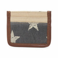 Mona B Credit Card Holder Wallet Stars Freedom Flag Canvas Leather Upcycled