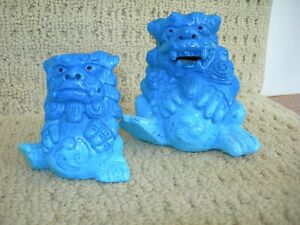 Decorative Pair of Gradient-Teal Blue Glazed Chinese Foo Dogs Sitting W/ Balls