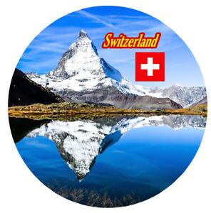 SWITZERLAND - ROUND SOUVENIR NOVELTY FRIDGE MAGNET - SIGHTS / NEW / GIFTS