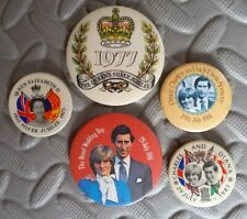 Queen's Silver Jubilee 1977  Charles & Diana Royal Wedding 1981 PIN BADGES