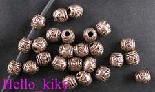 100Pcs Antiqued copper plt eyed barrel spacer beads A888