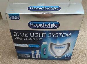 RAPID WHITE TEETH WHITENING FULL KIT BLUE LIGHT TECHNOLOGY 5 SHADES 2 WEEKS NEW