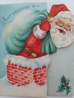 MCM Vtg 50s SANTA Just DROPPED IN Fold Out SANTA Chimney CHRISTMAS GREETING CARD