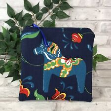 Swedish Dala Horse Dark Blue n Blue Dalahäst  Kurbits Zipper Pouch Makeup Bag