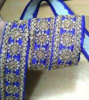 Wine Dancing Girl Vintage Lace TRIM BORDER 8 Yard Golden Zari Sari Craft #H
