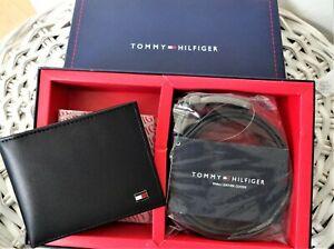 New 'Tommy Hilfiger' Men's Leather, Bifold Wallet& Belt Double Side,Compo Set