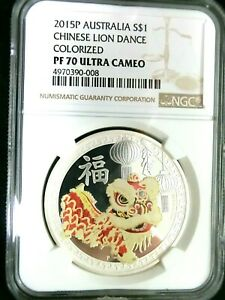 NGC PF70UC-Australia 2015P Chinese Lion Dance Colorized Silver $1 Perfect Proof