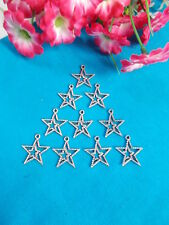 *** SILVER STAR CHARMS - NICE PATTERN x 20 - JEWELLERY - SCRAP BOOKING # 1 ***