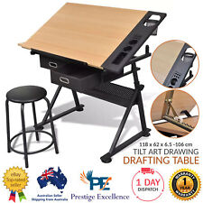 Tilt Art Drawing Drafting Table with 2 Drawers Stool Home Office Furniture Desks