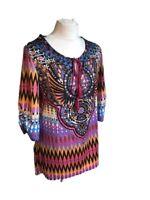Ladies Women's Top Kaftan Tunic Geometric Spring Summer Multi size Large L