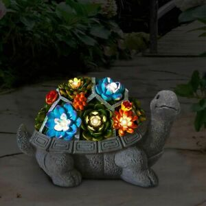 Solar Garden Turtle Statue Outdoor Tortoise Figurine Flowers LED Light Decor