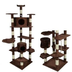 "New Brown 80"" Cat Tree Condo Furniture Scratching Post Pet Cat Kitten House"