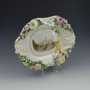 Fine Large Rockingham Porcelain Basket View The Needles, Isle Of Wight c.1830
