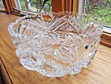 VINTAGE 24% LEAD CRYSTAL ROUND BOWL VERY HEAVY CUT GLASS STICKER WEST GERMANY