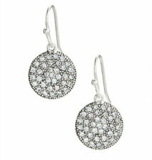 Etoile Drops Earrings Silver Plated CZ Disc Dangle Crystal Glass Hand-set Paved