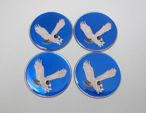 Lowrider hydraulics eagle logo chips for wire wheel rim knock offs, blue, 4 pack