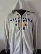 TOMMY HILFIGER - Hooded Zippered Jacket w/Logo Writing - LT. GREY - Men LARGE