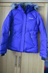 Columbia Ladies Ski Jacket Medium OMNI-HEAT Tech Purple Down Lining Hood Pockets