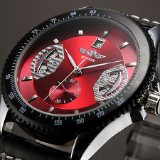 Deluxe Mens Sport Black Leather RED Dial Date Automatic Mechanical Wrist Watch